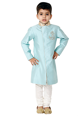 Kidology Pale Blue Anchor Sherwani