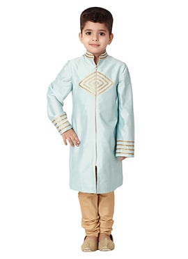 Kidology Pale Blue Star Teck Sherwani