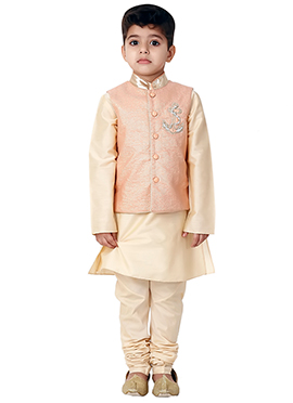 Kidology Pale Peach Kurta Bandi Set