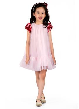 Kidology Pale Pink Cotton Silk Net Kids Dress