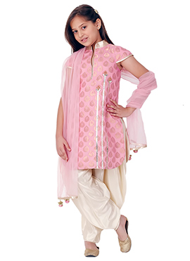 Kidology Pale Pink Stem Dhoti Set