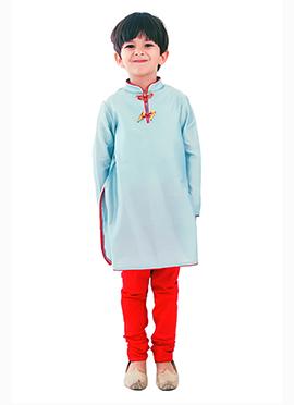 Kidology Pastel Blue Boys Kurta Pyjama