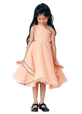 Kidology Peach Ariel One Shoulder Dress