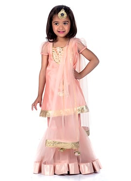 Kidology Peach Cotton Silk Kids Sharara Suit