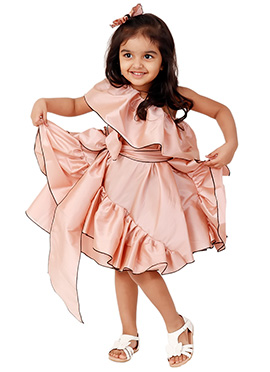 Kidology Peach Fairytale Side Ruffle Dress