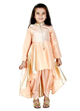 Kidology Peach Kids Asymmetrical Dhoti Set