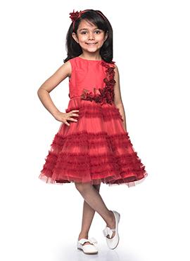 Kidology Pink N Maroon Taffeta Kids Dress