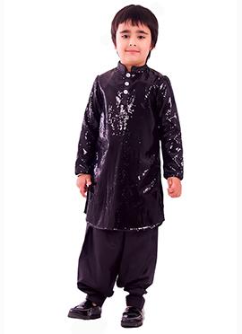 Kidology Purple Sequin Fabric Boys Kurta Pyjama