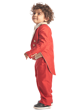 Kidology Red Baby Coat Tail Suit