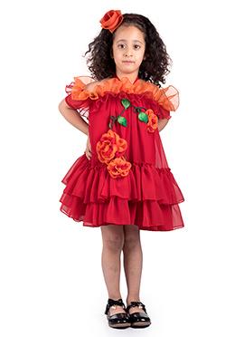 Kidology Red Georgette Kids Dress