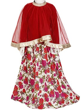 Kidology Red N Off White Kids Lehenga Choli