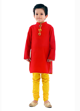Kidology Red Silk Cotton Boys Kurta Pyjama