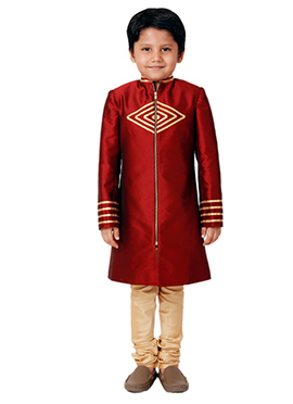 Kidology Red Star Teck Sherwani