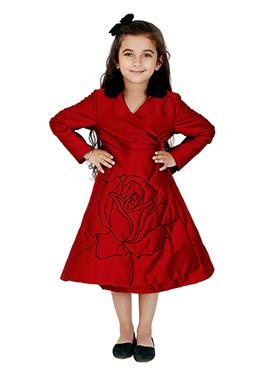 Kidology Red Taffeta Kids Wrap Dress