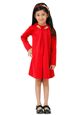 Kidology Red Tiffany Collar Dress
