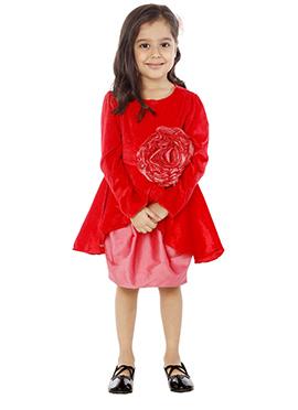 Kidology Red Velvet Indowestern Dress
