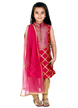 Kidology Pink Kids Churidar Suit