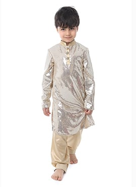 Kidology Silver Sequin Fabric Boys Kurta Pyjama