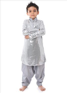 Kidology Silver Sequin Kurta Pyjama