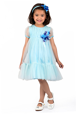 Kidology Sky Blue Cotton Silk Net Kids Dress