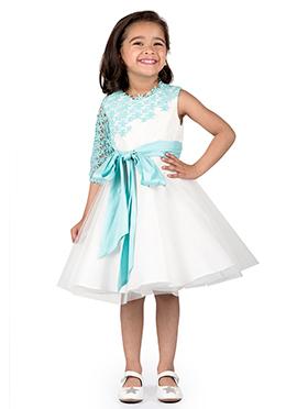 Kidology Sky Blue N White Taffeta Kids Dress