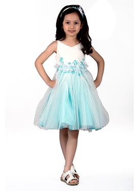 Kidology Sky Blue N White Taffeta Kids Dress