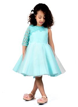 Kidology Sky Blue Taffeta Kids Dress