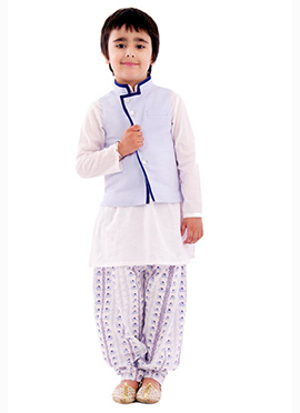 Kidology White N Light Blue Boys Bandi Set