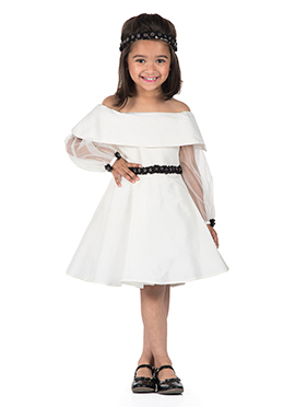 Kidology White Taffeta Net Kids Dress