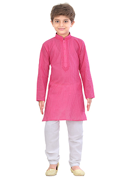 Kids Blended Cotton Deep Pink Kurta Pyjama