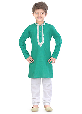 Kids Blended Cotton Green Kurta Pyjama