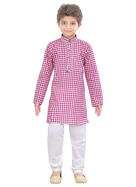 Kids Blended Cotton Kurta Pyjama