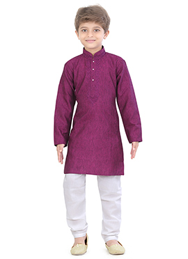 Kids Blended Cotton Magenta Kurta Pyjama
