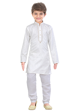 Kids Blended Cotton White Kurta Pyjama