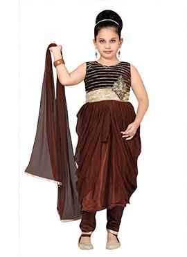Kids Brown Net Anarkali Suit