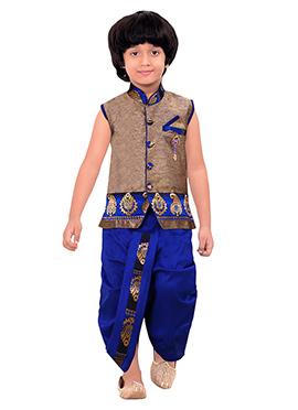 Kids Copper Brown Dhoti Kurta Set
