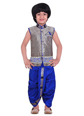 Kids Grey Dhoti Kurta Set