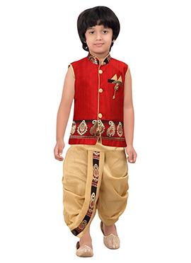 Kids Red Dhoti Kurta Set