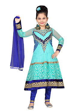 Kids Turquoise Blue Net Anarkali Suit