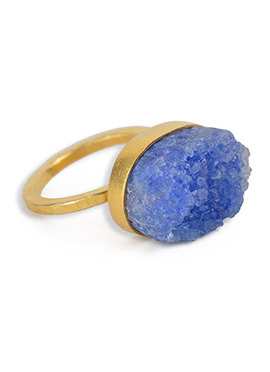 Kista Gold Plated Blue Crystal Ring