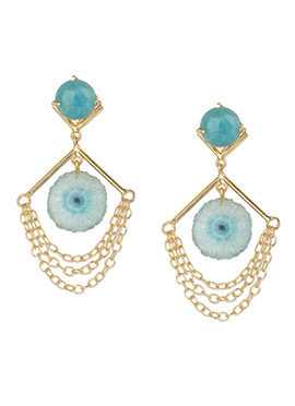 Kista Gold Plated Blue Danglers