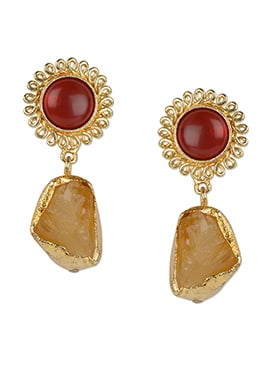 Kista Gold Plated Crystal Danglers