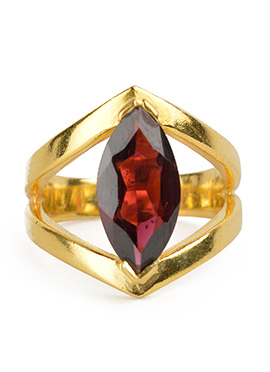 Kista Gold Plated Maroon Ring