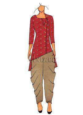 Knee Length Coral Pink Tunic N Dhothi Pants