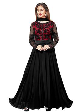 Krystal Dsouza Black Anarkali Suit