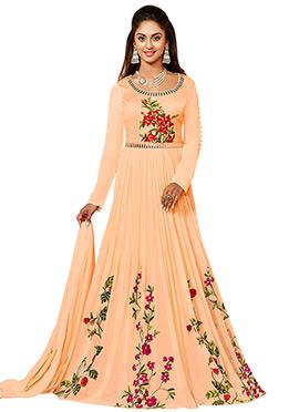 Krystal Dsouza Light Peach Anarkali Suit