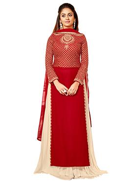 Krystal Dsouza Red Georgette Palazzo Suit