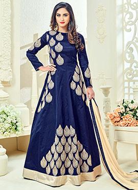 Krystle D Souza Blue Abaya Style Anarkali Suit