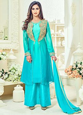 Krystle D Souza Blue Art Silk Palazzo Suit