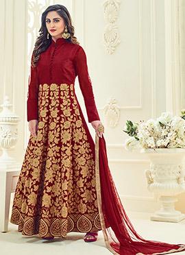 Krystle D Souza Maroon Art Silk Anarkali Suit